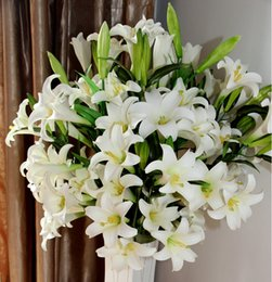 Wholesale Flowers Artificial Lily - 100cm artificial lily flower display flower PVC real touch for home and garden wedding decoration 2015 unveil Free shipping