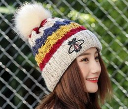 Wholesale Korean Fashion Hats - Free Shipping Winter new lady plus cashmere warm hat Korean bee wool hat big hair ball color bar knit hat wholesale