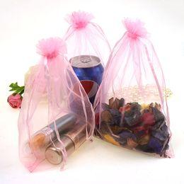 Wholesale Jewelry Sachet Bags - 17x23cm Pink Drawable Organza Jewelry Bags Bolsa De Regalo Cute Weeding Gift Bags Packaging Organza Sachet 100pcs lot Wholesale