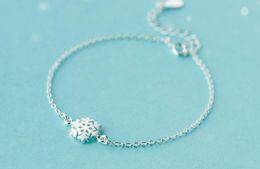 Wholesale Fishing Snow - S925 Silver Bracelet female Sen Department fresh brushed snowflake bracelet temperament personality snow flower jewelry female