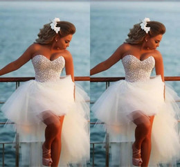 Wholesale Mini White Corset Wedding Dresses - Strapless Exquisite Pearl Hi -Lo Short Beach Wedding Dresses 2017 Casomento Sexy Corset Beaded Sweetheart High Low Bridal Gowns