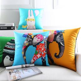 Wholesale velvet decorative cushions - Color Painting Cartoon Animals Cushion Covers Flower Elephant Penguin Elephant Bird Fish Cushion Cover Sofa Decorative Velvet Pillow Case