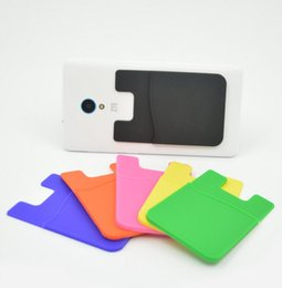 Wholesale Chinese Gadgets - Hot Silicone Wallet Card Cash Pocket Sticker Adhesive Holder Pouch Mobile Phone Gadget For iphone Samsung