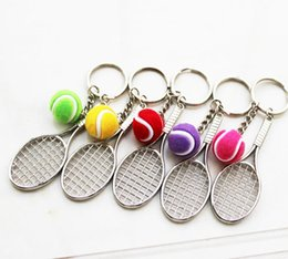 Wholesale Tennis Keychains Wholesale - 1PCS keyring Tennis racket Sports Model Small Pendant Keychains key chain