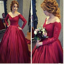 bescheidenes elegantes mutterschaftskleid Rabatt Elegantes rotes Ballkleid Hochzeitskleid weg von der Schulter Modest Brautkleider mit Ärmel Sexy Robe De Mariée Günstige Mutterschaft Brautkleider