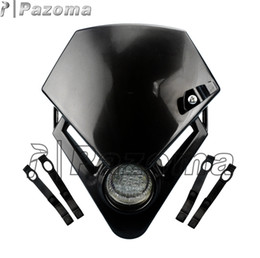 Wholesale Dirt Bike Honda - PAZOMA Universal Motorcycle Headlight Street Fighter Bike Motorcycle Accessorier Dirt Bike LED Vision Headlights Black