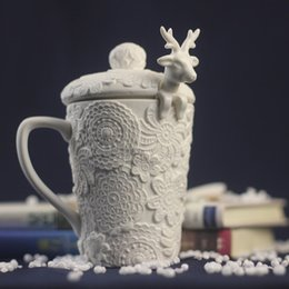 Wholesale Cute Christmas Couples Gifts - Christmas Ceramic Mug 3D Amimal Couples Cups with Lid Cute Milu Deer Coffee Milk Cups Breakfast Cup Christmas Gift 001