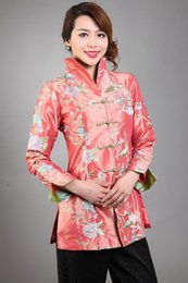 Wholesale Tang Suit Women - Wholesale- Special Offer Pink Women's Silk Satin Jacket Mandarin Collar Long Sleeve Coat Embroidery Floral Tang Suit Size S To XXXL T044