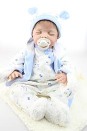 """Wholesale Touch Dolls Toys - 55cm  22"""" Lifelike VERY CUTE Silicone&Vinyl Reborn Baby Toy  Soft Gentle Touch Cloth Body Magnetic pacifier"""