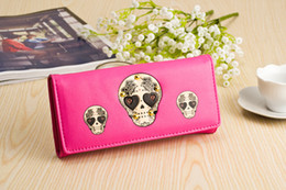Wholesale Wholesale Personalized Wallets - Personalized Fashion Skull Purse Women New Style Long Wallet Leather Clutch Wallet Hot sale Free Shipping