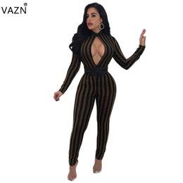 Wholesale Ladies Long Tops Designs - VAZN Top Quality High Design 2017 Sexy Jumpsuit Ladies Strapless Bodycon Jumpsuit Full Sleeve Long Jumpsuit CM121 q171118