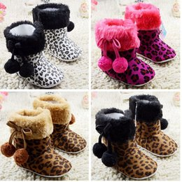 Wholesale Toddlers Leopard Print Boots - Double ball baby shoes!high top toddler shoes,Fuzzy Leopard newborn walking snow shoes,winter infant indoor snow boots.12pairs 24pcs.C