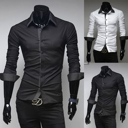 Wholesale Decorated Collar Shirt - Features of the new 2015 wholesale trade double collar men stripe decorated casual men's long-sleeved shirt