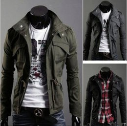 Wholesale Men Sexy Coats - Free Shipping New Slim Sexy Top Designed Mens Jacket Coat Colour:Black,Army green,Gray,Wholesale&Retail,hot#W0164