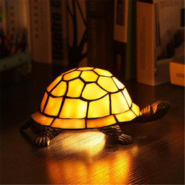 Wholesale Stained Glass Garden Lamps - Creative Retro Tortoise Table lamp Vintage Garden Style Tortoise Table Lamp Fashion Bedside Lamp Creative Study Room Cafe Bar Lamps