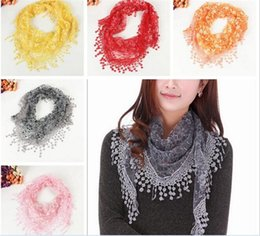 Wholesale Triangle Scarves For Women - 18colors Lace Scarfs for Women Ladies Flower Triangle Lace Scarves Female All-match Tassel Shawls Scarves R059