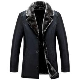 Rivestimento russo online-Giacche di pelle all'ingrosso-inverno russo nero di alta qualità spessa giacca in pelle da uomo e cappotto moda casual abbigliamento da uomo jaquet