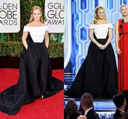 Wholesale Famous Triangles - Off Shoulder White and Black Celebrity Dresses 2016 New Famous Amy Schumer Satin Celebrity Prom Evening Gowns 73th Golden Globe Awards