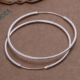 Wholesale Wholesale Matting - Fashion 925 Sterling Silver EARRINGS Matting Circle Women's Hoop Earrings