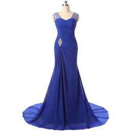 Wholesale Chiffon Dresses For Dinner - New Royal Blue Mermaid Long Evening Dresses For Women Crystal Beaded Court Train Prom Gowns Formal Dinner Party Dress Vestido Festa Longo