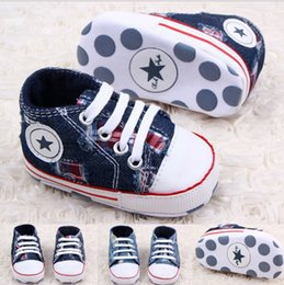 Wholesale Boys Denim Shoes - Lace-up denim hole toddler shoes!blue baby shoes,casual walker shoes,floor children shoes,infant canvas shoes,soft boy shoe .9pairs 18pcs.ZH