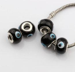 Wholesale Evil Eye Lampwork Beads - Hot ! 200pcs Black Colors Evil Eye Murano Lampwork Colored Glaze Big Hole Beads Fit Charm Bracelet DIY Jewelry 14mm
