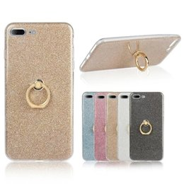 Wholesale Black Apple Sticker - Ring Buckle Bracket Stand Glitter Stickers Holer Silicone Case For iPhone X 8 7 6 Plus 5 5C