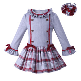 Wholesale Grid Girls Clothing - Pettigirl New Spring And Fall Grey Girls Grid Dresses With Hairband Lace Kids A-Line Wear Boutique Children Clothes G-DMGD007-A129