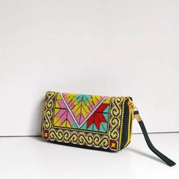 Wholesale Cross Stitch Cotton Fabric - The new national wind creative hand bag lady's purse characteristics Cross-stitch double zipper mobile qute wallet