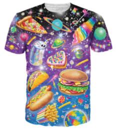 Wholesale Graphic Designs T Shirts - New Fashion 3D Print Pizza Burgers Graphic T Shirts Design Short Sleeve Hip Hop Tops Comfortable Men Women Clothing Plus Size