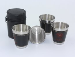 Wholesale Shot Beer Mug Glasses - 4pcs set 70ml Cups Set Stainless Steel Wine Beer Whiskey Mugs Portable Outdoor Hiking Travel Business Cup