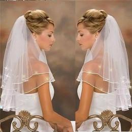 Cristal afiado véu da catedral on-line-Acessórios de vestido de noiva de véu de noiva branco de cristais marfim Catedral elegante Dois níveis de borda de fita Grace de graça Sticky Beads véu de casamento