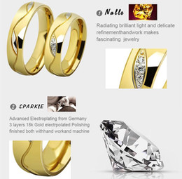 Wholesale Titanium Jewellery Wholesale - Simple CZ Diamond Lovers Ring 18K Gold Plated Titanium Stainless Steel Rhinestones Studded Wedding Rings Jewelry   Jewellery For Women men