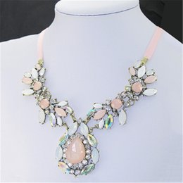 Wholesale Synthetic Gems Wholesale - Women's Full Synthetic Crystal Wedding Necklace Collar Romantic Female Pink Gem Stone Pendant Statement Necklace