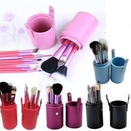Wholesale Makeup Brush Cup Case - 12pcs lot Makeup Tools Brushes Fashional Cosmetic Brush set kits Tool 5 Colors Facial Make up brushes with Cup Holder Case 0605005