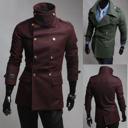 Wholesale Men Epaulette Jacket - new casual Men's coat Slim men's jacket Double-breasted Epaulette men's wool coat Large lapel mens outwear Gold buckle bown 1053
