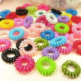 Wholesale Telephone Wire Hair Tie - Wholesale 30 pcs mulit-color Telephone Wire Cord Girl Elastic head Tie Hair Band