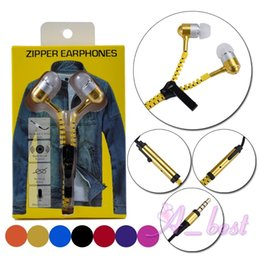Wholesale Apple Jeans - 3.5mm Stereo Jeans Zipper Earphones Universal Headphones Headset With Remote & Mic for iPhone 8 Samsung Note 8 HTC SONY Cell Phone Earphone