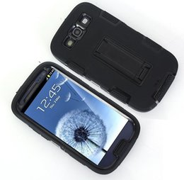 Wholesale Galaxy Triple Case - Wholesale-Triple Layer Shockproof Defenered Case Cover for Samsung Galaxy I9300 S III Neo I9301 SIII Neo+ i9300i SIII Duos Stand Case
