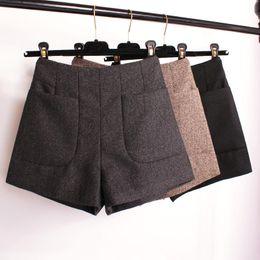 Wholesale Winter Boots Korean - Winter Shorts 2017 Korean High Waist Shorts Women Wool Boots Fashion Shorts Black Grey Khaki Big Pocket Plus Size S M L XL