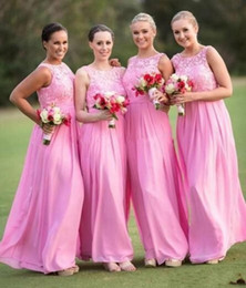 Wholesale Ivory Lace Bridesmaid Dress Long - Under 100 ! 2015 Pink Lace Chiffon Bridesmaid Dresses Beach Garden Sheer Crew Neck Maid of Honor Gowns A-Line Long Wedding Party Dresses