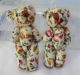 Wholesale Print Cloth Doll - Wholesale-Wholesale 4.5cm Plush Teddy Bear Kawaii Cute Mini Stuffed Gift for Girls DIY Printed Cloth Joint Bear Cartoon Dolls 10pcs lot
