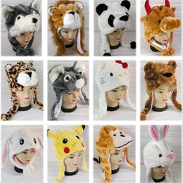 Wholesale Girls Earflap Animal Hats - 2015 Cartoon Plush Hat Animal Hat Tiger Hat Performance Designs Wolf Hat Earflap Frog Hat Winter Hat 30 colors Can Choose K5229