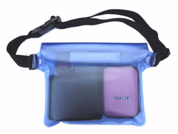 Wholesale Wholesale Clear Pvc Handbags - 22*16cm PVC waterproof swimming waist pack bag underwater dry pocket cover for cell phone 10pcs lot free shipping
