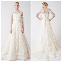 Wholesale Zuhair Murad Dresses Online - Romantic Sheer Shoulder Lace Appliques A-Line Wedding Dresses Tulle Overlay Bridal Gowns Custom Online Vestidos De Novia 2016 Zuhair Murad