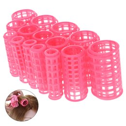 Wholesale Large Hair Curlers Rollers - 15pcs set Plastic Hair Curler Roller Large Grip Styling Roller Curlers Hairdressing DIY Tools Styling Home Use Hair Rollers