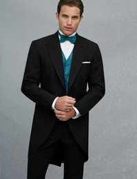Wholesale Classic Wool Coats Men - Morning Coat One Button Black Groom Tuxedos Peak Lapel Groomsmen Best Man Mens Weddings Prom Suits (Jacket+Pants+Vest+Tie) NO:3188