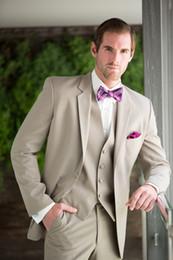 Wholesale Mens Tan Vests - 2015 beige mens wedding suits tuxedos notched Lapel formal tan mens suits two button groomsmen suits three piece Suit(Jacket+Pants+vest+tie)