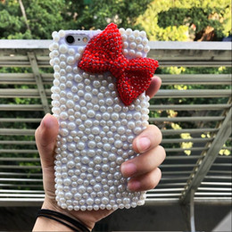 Wholesale Pearl Bow Phone Cases - 3D Red Bow Pearl diamond rhinestone phone plastic case for iphone X 8 7 8 7plus 6 6s 6 6s plus 5 5s se 5c 4