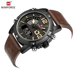 Wholesale Mens Military Digital Watch - Utop2012 NAVIFORCE 9095 Mens Fashion Sport Watches Men Quartz Analog Date Clock Man Leather Military Waterproof Watch Relogio Masculino